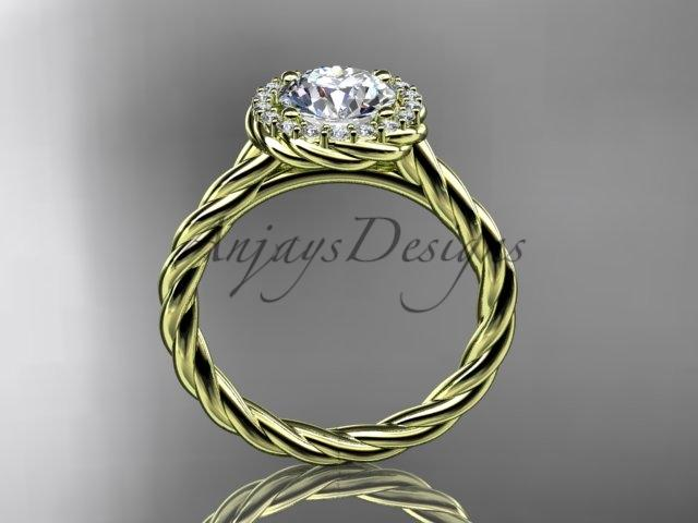 14kt yellow gold halo rope diamond engagement ring RP8197
