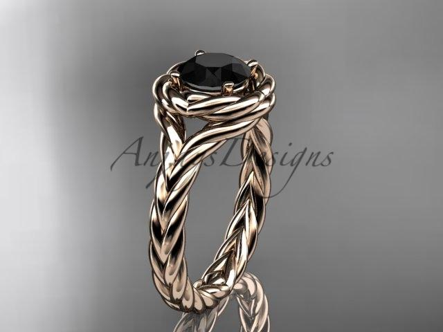 14kt rose gold twisted rope engagement ring with a Black Diamond center stone RP8201
