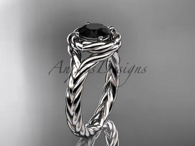 Platinum twisted rope engagement ring with a Black Diamond center stone RP8201