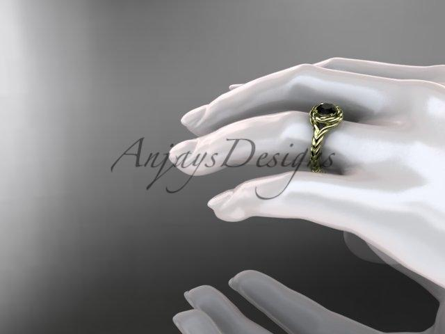 14kt yellow gold twisted rope engagement ring with a Black Diamond center stone RP8201