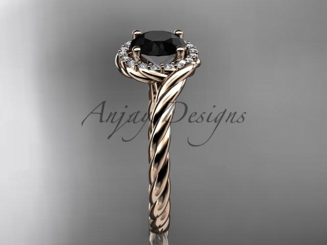 14kt rose gold Black Diamond rope engagement ring RP8379