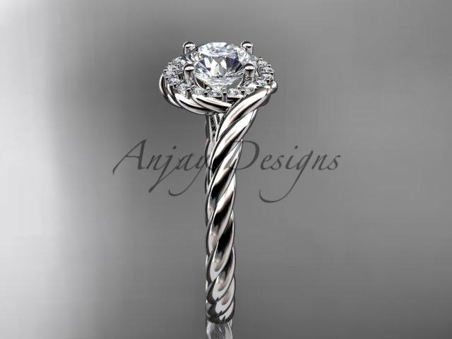 14kt white gold diamond rope engagement ring RP8379