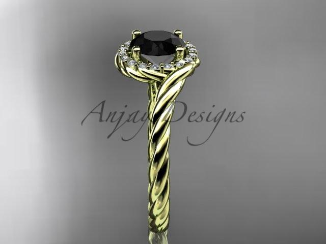 14kt yellow gold Black Diamond rope engagement ring RP8379