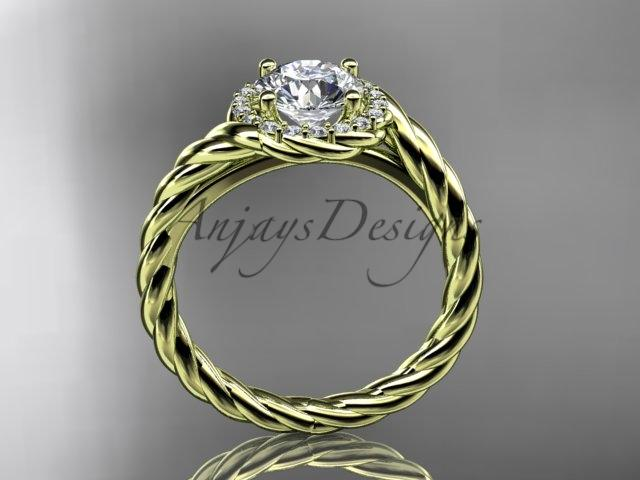 14kt yellow gold diamond rope engagement ring RP8379