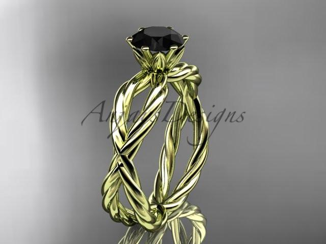 14k yellow gold rope engagement ring with a Black Diamond center stone RP870