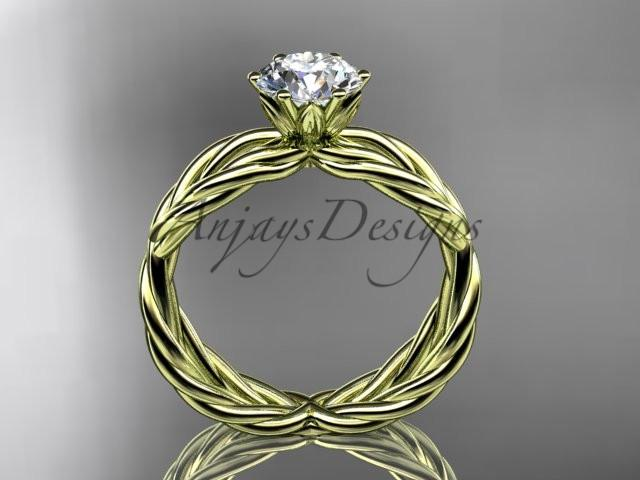 "14k yellow gold rope engagement ring with a ""Forever One"" Moissanite center stone RP870"