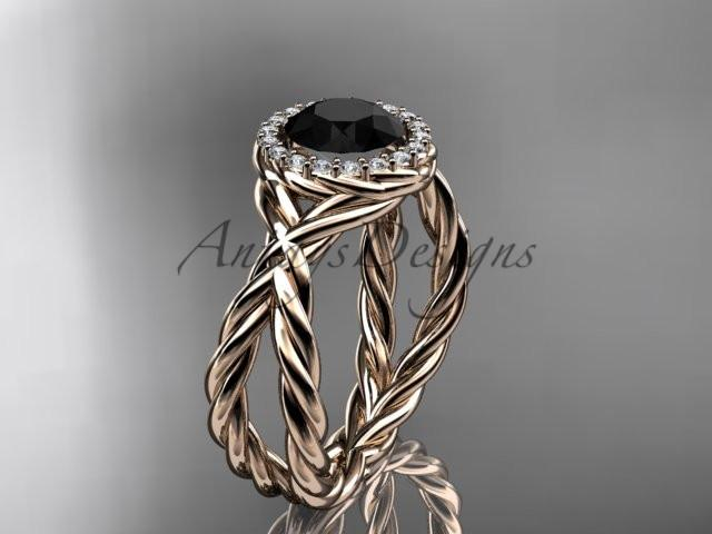 14kt rose gold diamond rope engagement ring with a Black Diamond center stone RP889