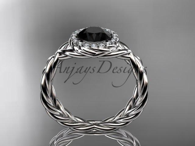 platinum diamond rope engagement ring with a Black Diamond center stone RP889