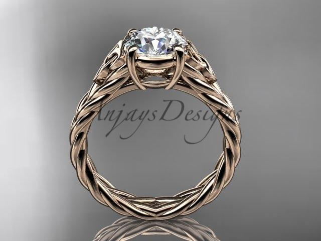 "14kt rose gold celtic rope engagement ring with a ""Forever One"" Moissanite center stone RPCT9108"