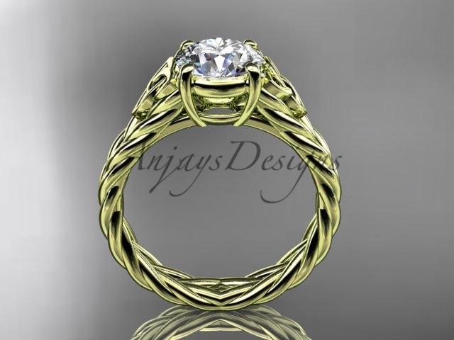 "14kt yellow gold celtic rope engagement ring with a ""Forever One"" Moissanite center stone RPCT9108"