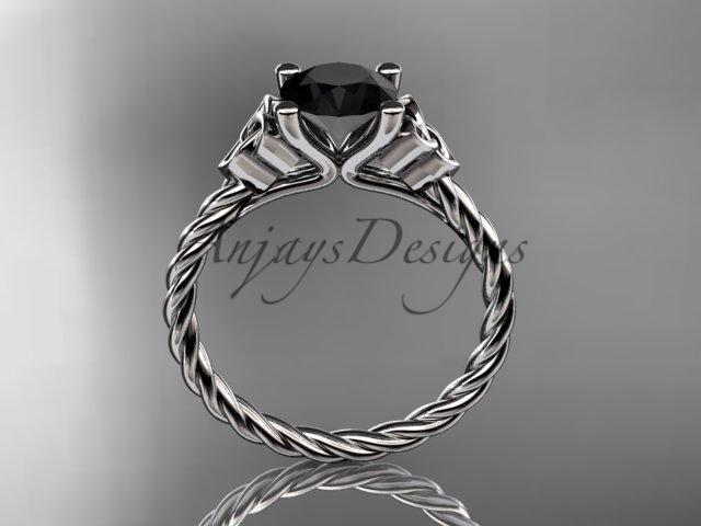 14kt white gold rope triquetra celtic engagement ring with a Black Diamond center stone RPCT9116