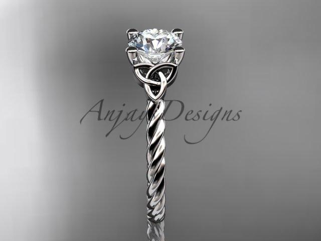 "Platinum rope triquetra celtic engagement ring with a ""Forever One"" Moissanite center stone RPCT9116"