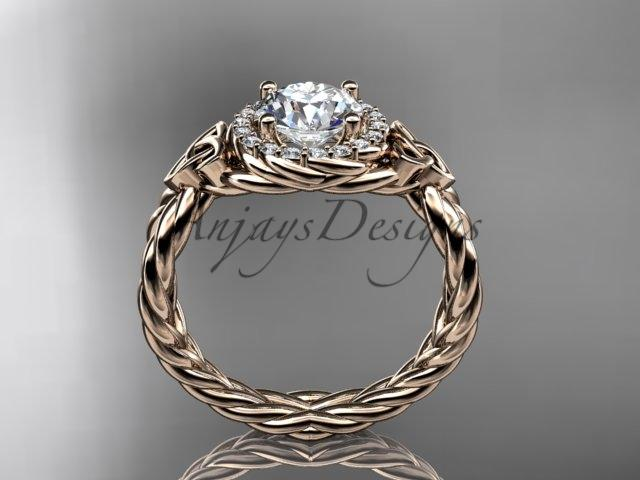14kt rose gold rope halo celtic triquetra engagement ring RPCT9127