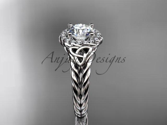 "Platinum halo rope celtic triquetra engagement ring with a ""Forever One"" Moissanite center stone RPCT9131"