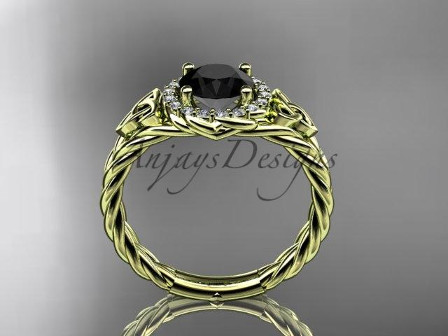 14kt yellow gold halo rope celtic triquetra engagement ring with a Black Diamond center stone RPCT9131