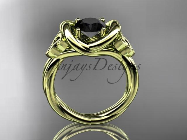 14kt yellow gold trinity celtic twisted rope wedding ring with a Black Diamond center stone RPCT9146