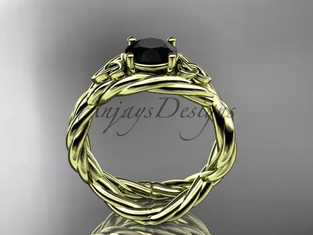 14kt yellow gold rope celtic engagement ring with a Black Diamond center stone RPCT9181