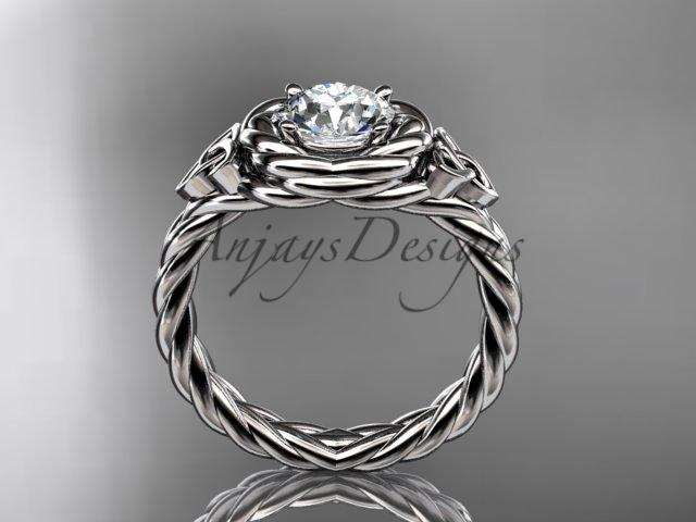 "14kt white gold celtic nautical engagement ring with a ""Forever One"" Moissanite center stone RPCT9201"