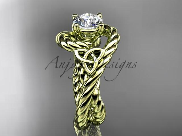 "14kt yellow gold celtic trinity twisted rope wedding ring ""Forever One"" Moissanite RPCT9320"