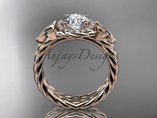 14kt rose gold rope halo celtic trinity diamond engagement ring RPCT9380