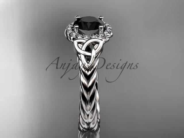 Platinum rope celtic trinity diamond engagement ring with a Black Diamond center stone RPCT9380