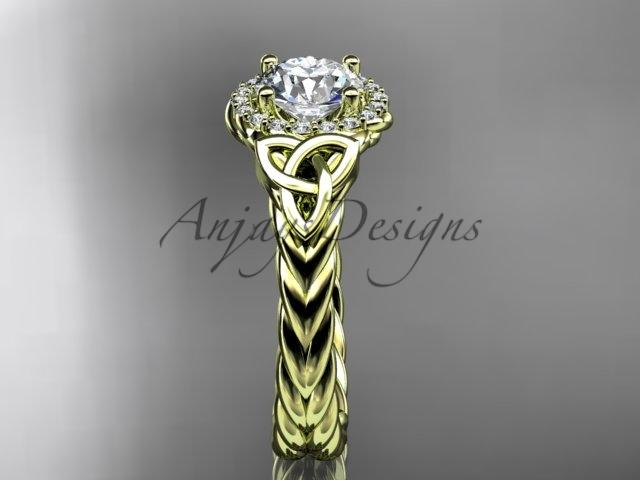 14kt yellow gold rope halo celtic trinity diamond engagement ring RPCT9380
