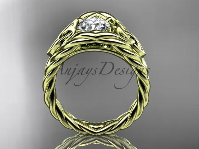 "14kt yellow gold celtic trinity rope wedding ring with a ""Forever One"" Moissanite center stone RPCT964"