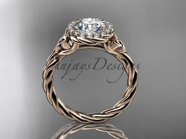 14kt rose gold rope celtic engagement rings RPCT997
