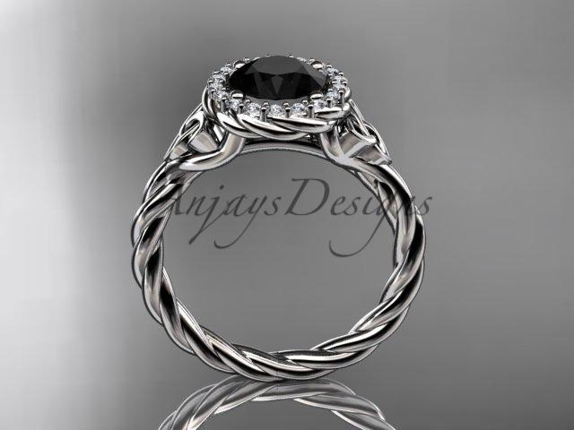 Platinum rope Black Diamond Celtic Bridal ring RPCT997