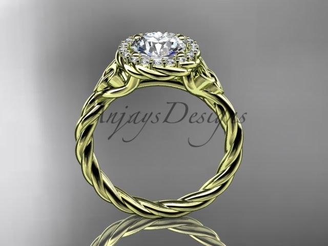 14kt yellow gold rope celtic engagement rings RPCT997