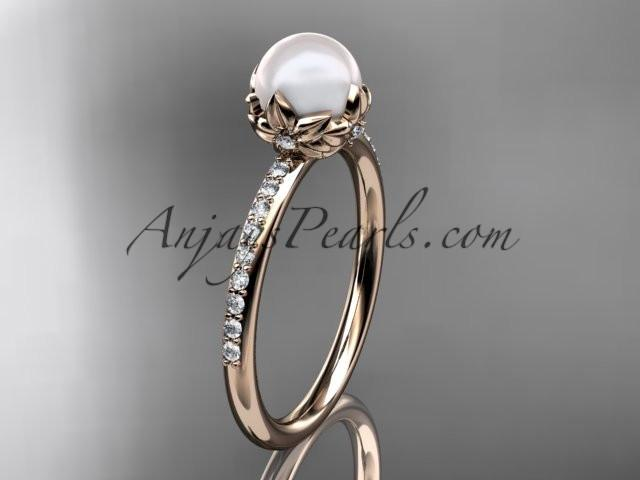 14k rose gold diamond pearl vine and leaf engagement ring AP92 - AnjaysDesigns