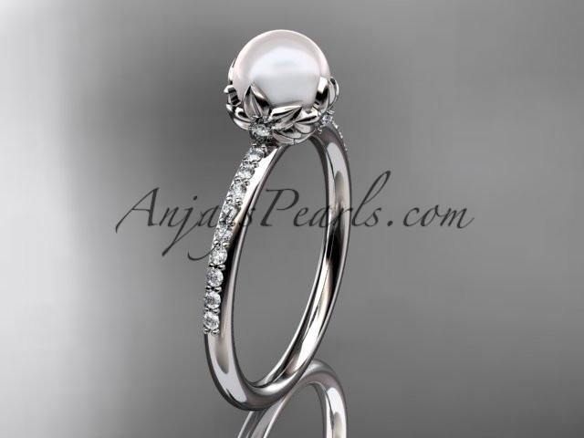 platinum diamond pearl vine and leaf engagement ring AP92 - AnjaysDesigns