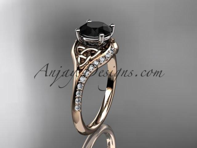 14kt rose gold diamond celtic trinity knot wedding ring, engagement ring with a Black Diamond center stone CT7125 - AnjaysDesigns