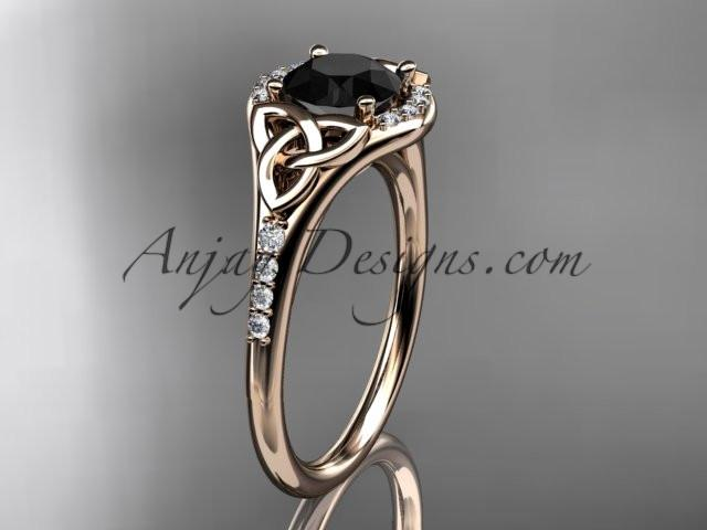 14kt rose gold diamond celtic trinity knot wedding ring, engagement ring with a Black Diamond center stone CT7126 - AnjaysDesigns