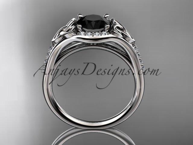 platinum diamond celtic trinity knot wedding ring, engagement ring with a Black Diamond center stone CT7126 - AnjaysDesigns