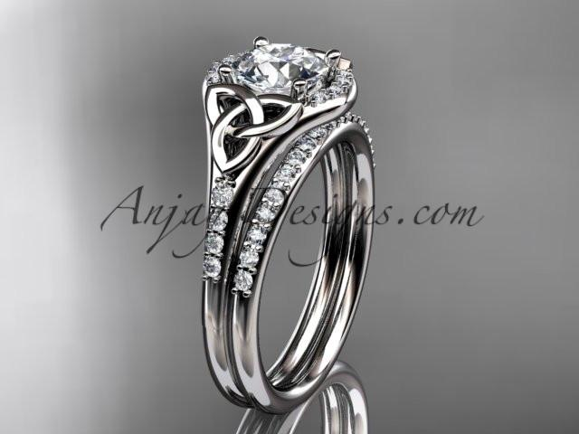 "platinum diamond celtic trinity knot wedding ring, engagement set with a ""Forever One"" Moissanite center stone CT7126S - AnjaysDesigns"