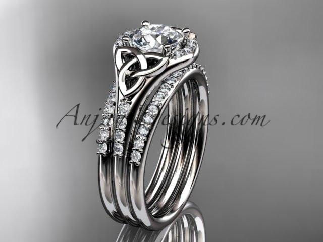 "platinum diamond celtic trinity knot wedding ring, engagement ring with a ""Forever One"" Moissanite center stone and double matching band CT7126S - AnjaysDesigns"