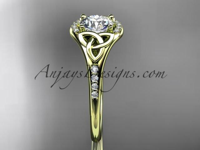 "14kt yellow gold diamond celtic trinity knot wedding ring, engagement ring with a ""Forever One"" Moissanite center stone CT7126 - AnjaysDesigns"