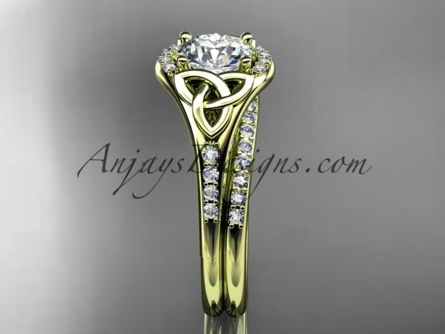 "14kt yellow gold diamond celtic trinity knot wedding ring, engagement set with a ""Forever One"" Moissanite center stone CT7126S - AnjaysDesigns"