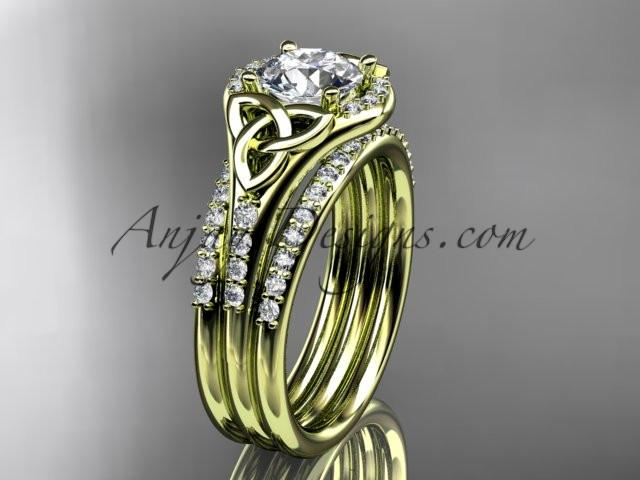 "14kt yellow gold diamond celtic trinity knot wedding ring, engagement ring with a ""Forever One"" Moissanite center stone and double matching band CT7126S - AnjaysDesigns"
