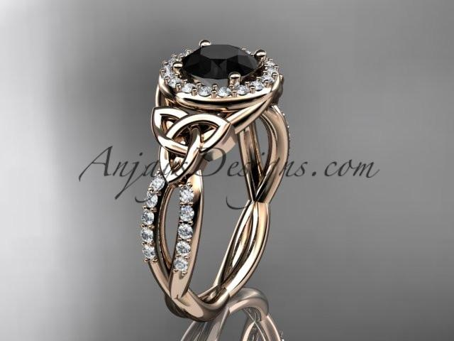 14kt rose gold diamond celtic trinity knot wedding ring, engagement ring with a Black Diamond center stone CT7127 - AnjaysDesigns
