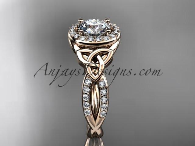 "14kt rose gold diamond celtic trinity knot wedding ring, engagement ring with a ""Forever One"" Moissanite center stone CT7127 - AnjaysDesigns"
