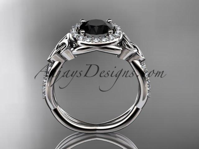 platinum diamond celtic trinity knot wedding ring, engagement ring with a Black Diamond center stone CT7127 - AnjaysDesigns