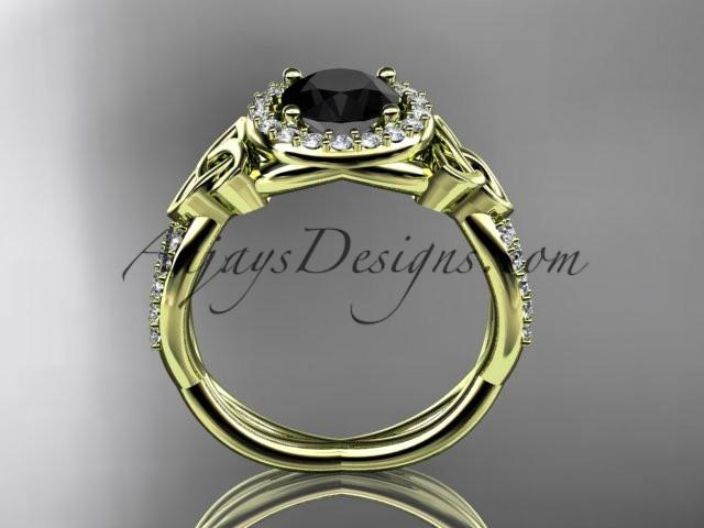 14kt yellow gold diamond celtic trinity knot wedding ring, engagement ring with a Black Diamond center stone CT7127 - AnjaysDesigns