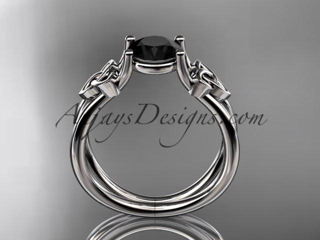 platinum diamond celtic trinity knot wedding ring, engagement ring with a Black Diamond center stone CT7130 - AnjaysDesigns