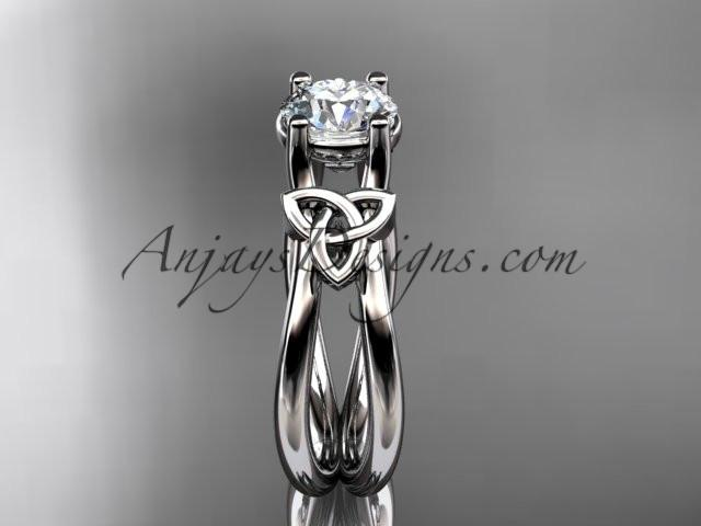 "14kt white gold diamond celtic trinity knot wedding ring, engagement ring with a ""Forever One"" Moissanite center stone CT7130 - AnjaysDesigns"