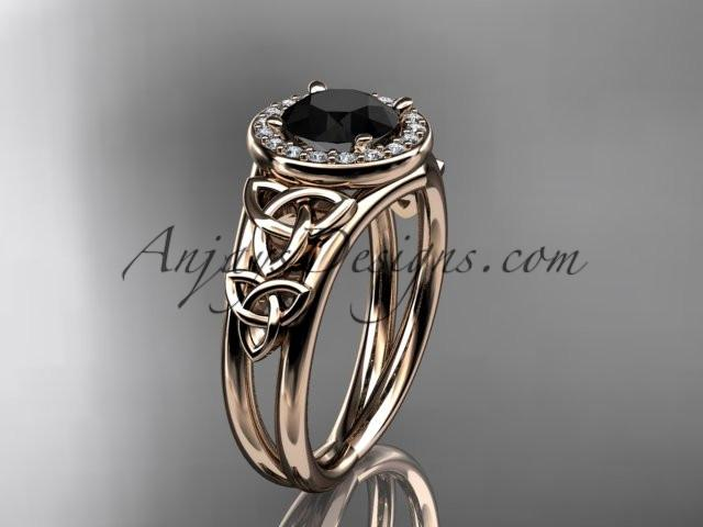 14kt rose gold diamond celtic trinity knot wedding ring, engagement ring with a Black Diamond center stone CT7131 - AnjaysDesigns