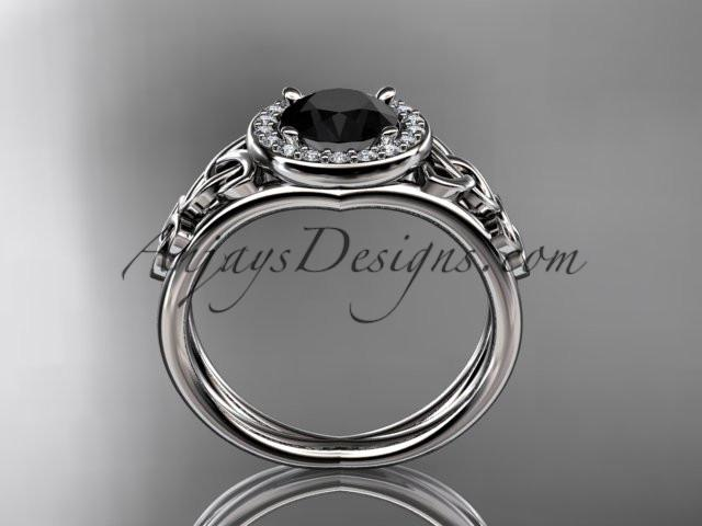 platinum diamond celtic trinity knot wedding ring, engagement ring with a Black Diamond center stone CT7131 - AnjaysDesigns