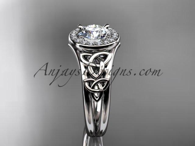 "platinum diamond celtic trinity knot wedding ring, engagement ring with a ""Forever One"" Moissanite center stone CT7131 - AnjaysDesigns"