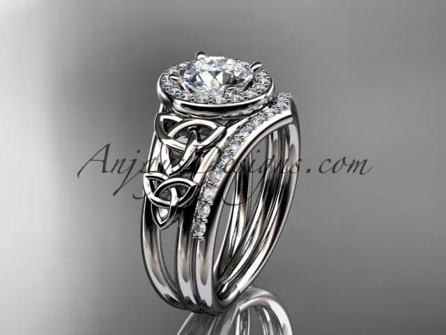 "platinum diamond celtic trinity knot wedding ring, engagement set with a ""Forever One"" Moissanite center stone CT7131S - AnjaysDesigns"